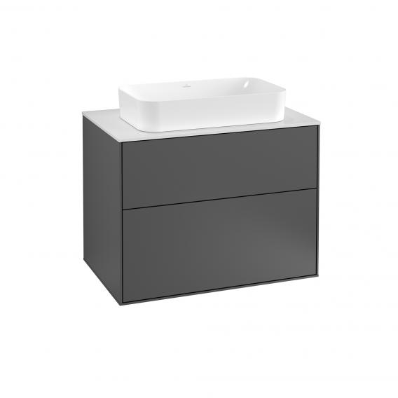 Villeroy & Boch Finion vanity unit with 2 pull-out compartments for countertop basins front matt anthracite / corpus matt anthracite, top matt white