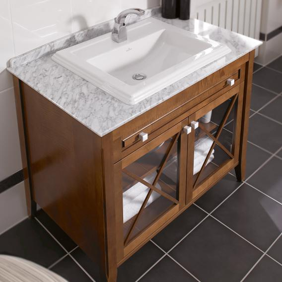 Villeroy & Boch Hommage vanity unit with washbasin, 2 doors and 1 pull-out compartment front walnut / corpus walnut, white with CeramicPlus, white handles