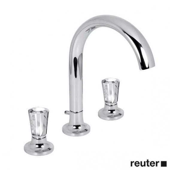 Villeroy & Boch LaFleur exclusive three hole basin mixer, STRASS® Swarowski® crystal handles, crystal clear chrome/transparent glass