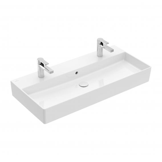 Villeroy & Boch Memento 2.0 double washbasin white, with CeramicPlus, with overflow, ungrounded