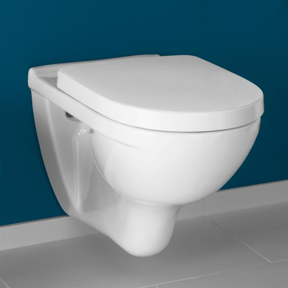 Villeroy & Boch O.novo combi pack wall-mounted washdown toilet, with toilet seat rimless, white, with CeramicPlus