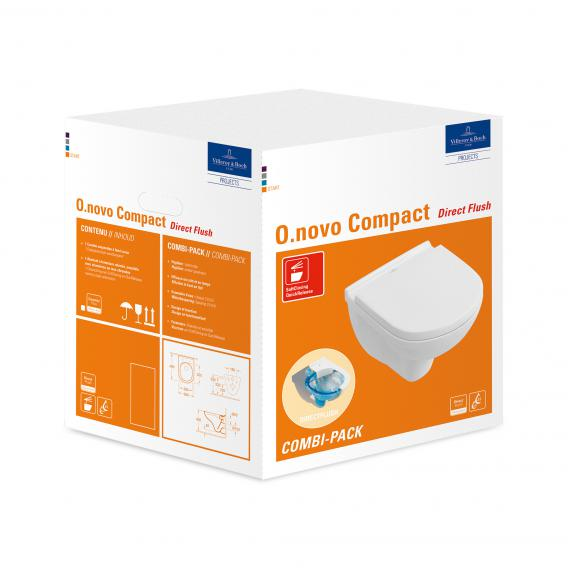 Villeroy & Boch O.novo Combi-Pack Compact wall-mounted washdown toilet, open rim white, with CeramicPlus