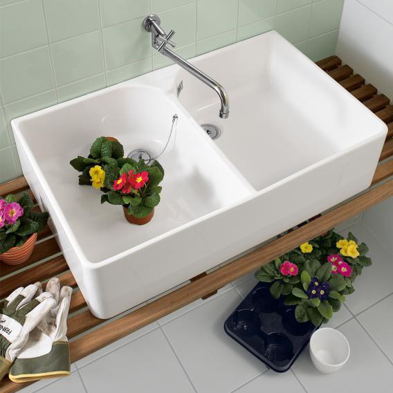 Villeroy & Boch O.novo double sink white, with CeramicPlus