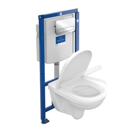 Villeroy & Boch O.novo wall-mounted washdown toilet ViConnect combi pack, open flush rim, with toilet seat chrome flush plate