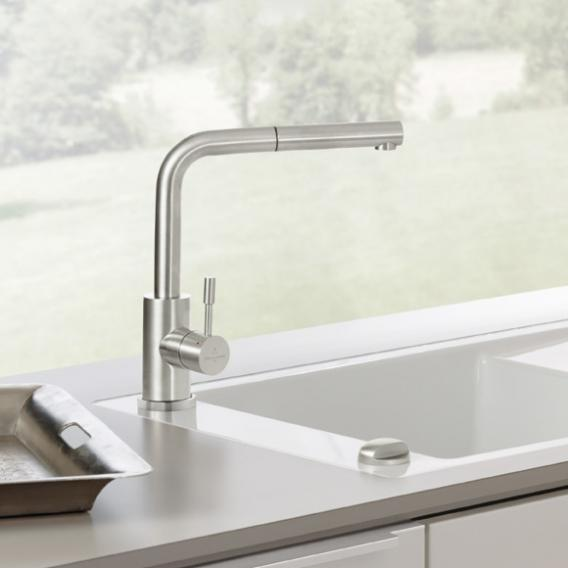 Villeroy & Boch Steel Shower kitchen fitting with pull-out spout brushed stainless steel