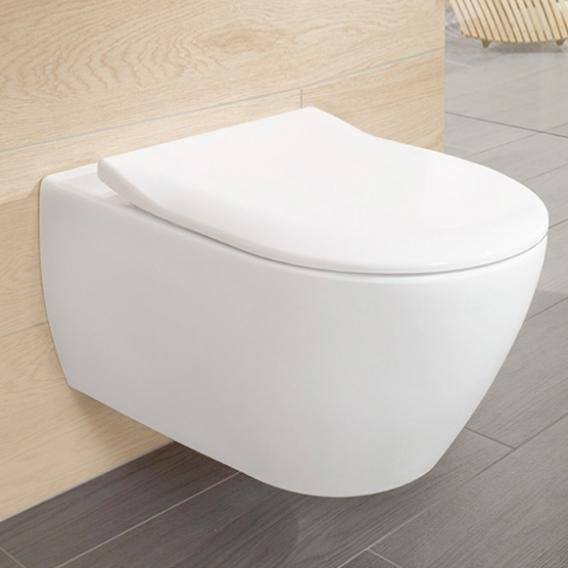 Villeroy & Boch Subway 2.0 combi pack wall-mounted washdown toilet, open flush rim, with toilet seat white, with CeramicPlus