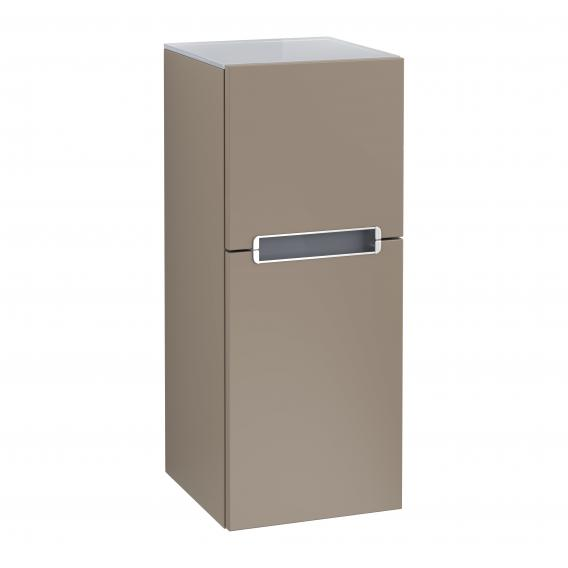 Villeroy & Boch Subway 2.0 side unit with 1 pull-out compartment and 1 door front truffle grey / corpus truffle grey, silver grey top, matt silver handles