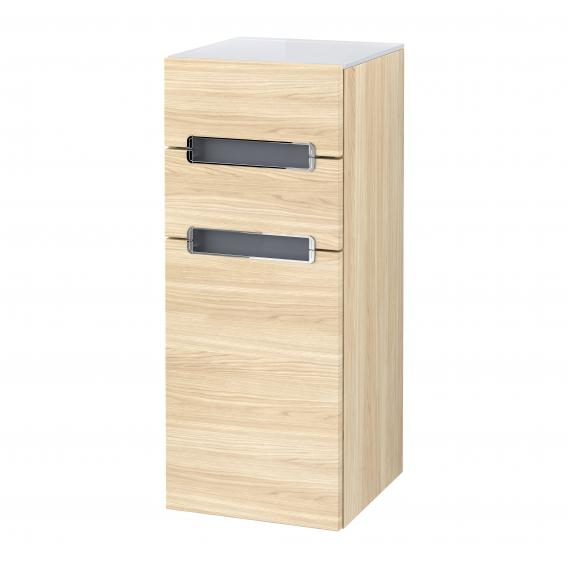 Villeroy & Boch Subway 2.0 side unit with 1 door and 2 drawers front impresso elm / corpus impresso elm, white top, chrome handles