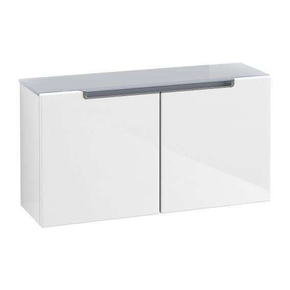 Villeroy & Boch Subway 2.0 sideboard with 2 doors front glossy white / corpus glossy white, silver grey top, chrome handles
