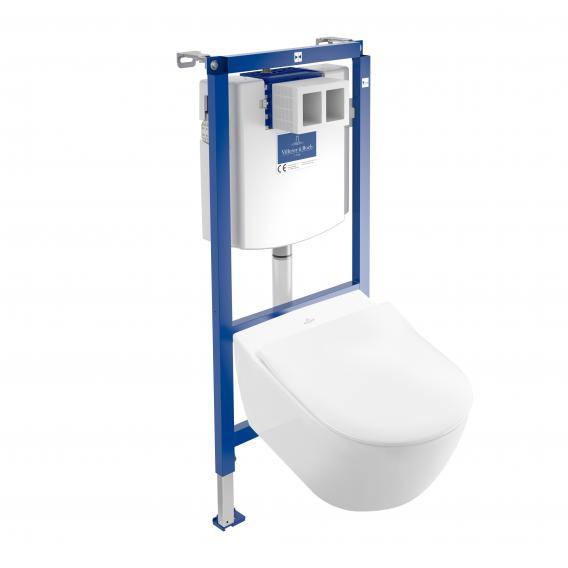 Villeroy & Boch Subway 2.0 & ViConnect NEW complete set wall-mounted washdown toilet, with toilet seat rimless, white, with CeramicPlus