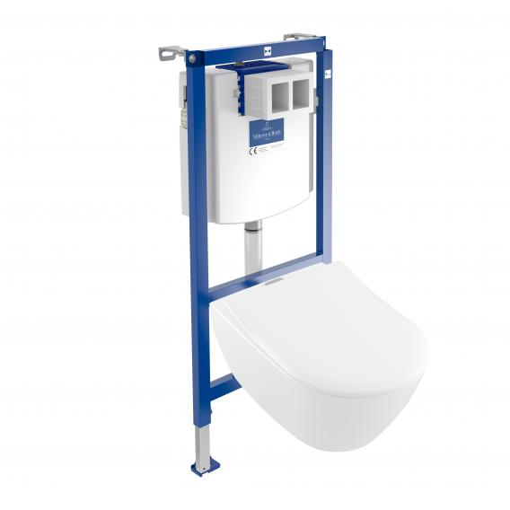 Villeroy & Boch Subway 2.0 & ViConnect ViFresh NEW complete set wall-mounted washdown toilet, open flush rim, with toilet seat white, with CeramicPlus and AntiBac