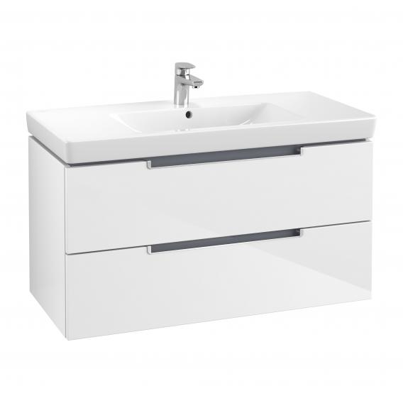Villeroy & Boch Subway 2.0 XL vanity unit with 2 drawers front glossy white / corpus glossy white, matt silver handles