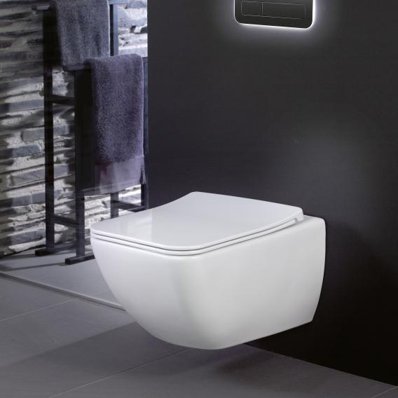 Villeroy & Boch Venticello combi pack wall-mounted washdown toilet, open flush rim, with toilet seat white, with CeramicPlus
