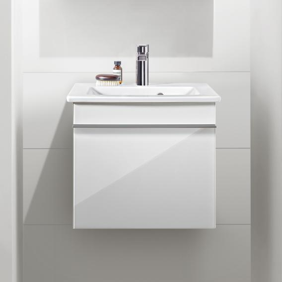 Villeroy & Boch Venticello hand washbasin with vanity unit with 1 pull-out compartment front glossy white / corpus glossy white, handle chrome, WB white, with CeramicPlus