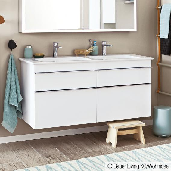 Villeroy & Boch Venticello vanity unit XXL for double washbasin with 4 pull-out compartments front glossy white / corpus glossy white, chrome handles