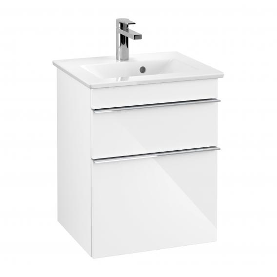 Villeroy & Boch Venticello XXL vanity unit for hand washbasin with 2 pull-out compartments front glossy white / corpus glossy white, chrome handles