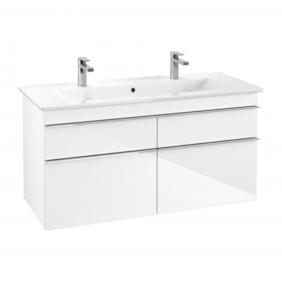 Villeroy & Boch Venticello XXL vanity unit for double washbasin with 4 pull-out compartments front glossy white / corpus glossy white, chrome handles