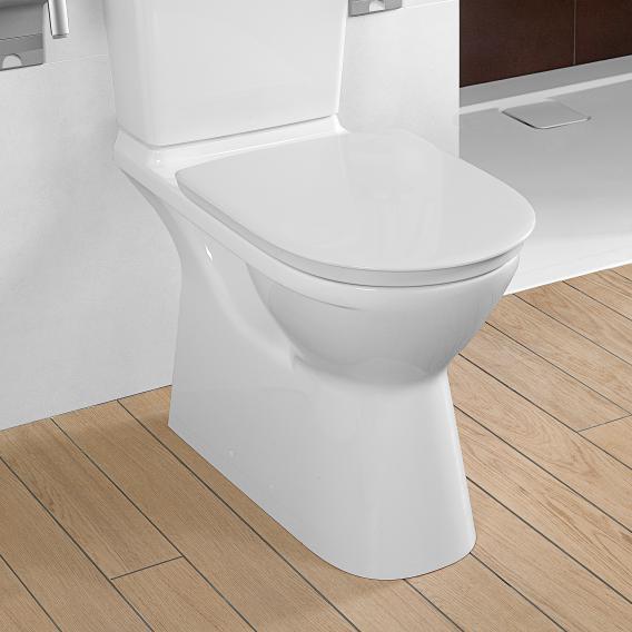 Villeroy & Boch ViCare floorstanding close-coupled washdown toilet, open flush rim white, with CeramicPlus
