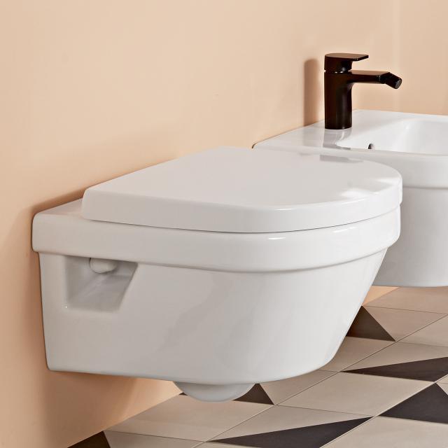 Villeroy & Boch Architectura wall-mounted washdown toilet, with toilet seat white, rimless, with CeramicPlus
