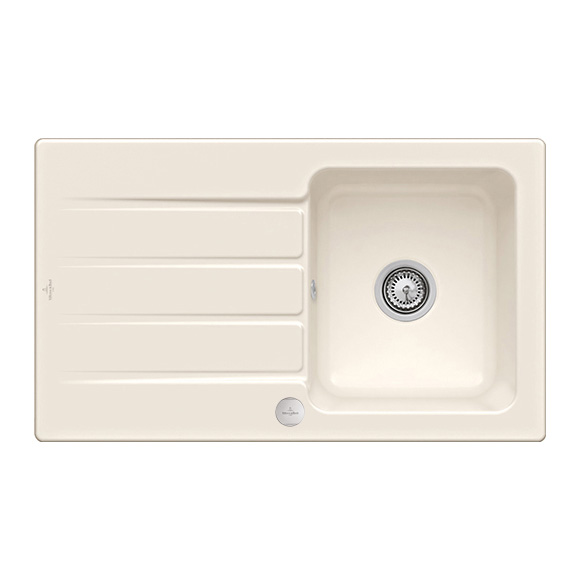 Villeroy & Boch Architectura 50 built-in sink with draining board cream gloss/position borehole 1
