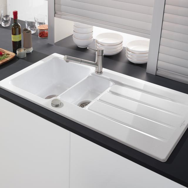 Villeroy & Boch Architectura 60 XR built-in sink with draining board white alpine/position boreholes 1 and 2