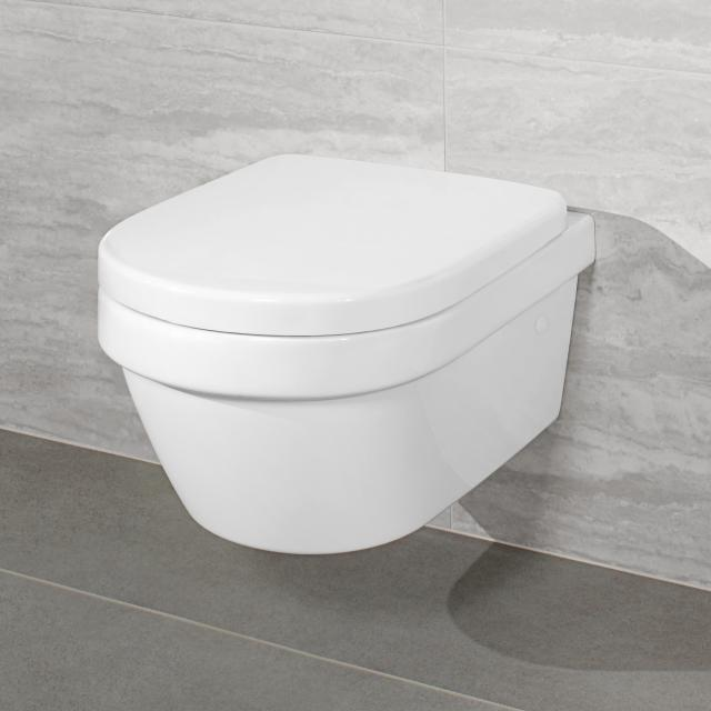 Villeroy & Boch Architectura combi pack wall-mounted washdown toilet, open flush rim, DirectFlush white, with CeramicPlus