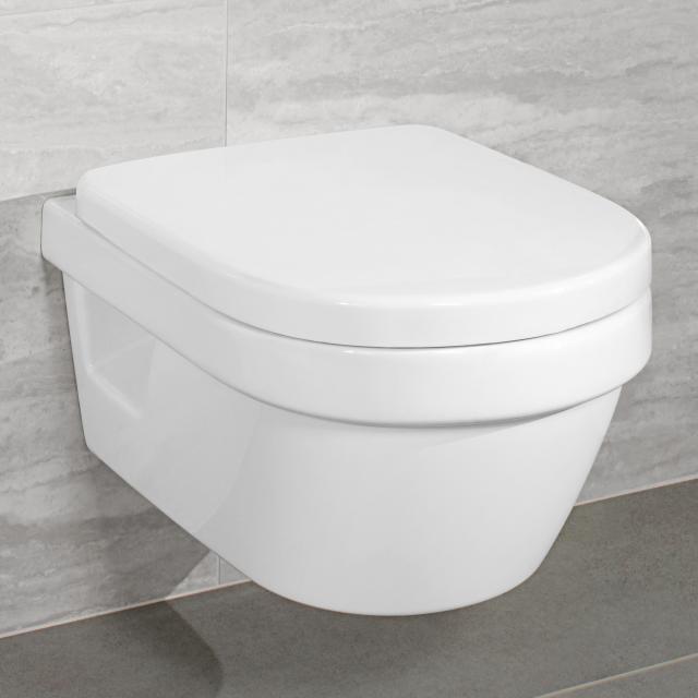 Villeroy & Boch Architectura wall-mounted washdown toilet, open flush rim white, with CeramicPlus and AntiBac
