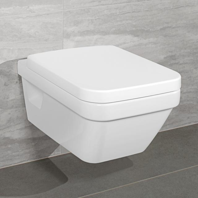 Villeroy & Boch Architectura combi pack wall-mounted washdown toilet, open flush rim, toilet seat white, with CeramicPlus