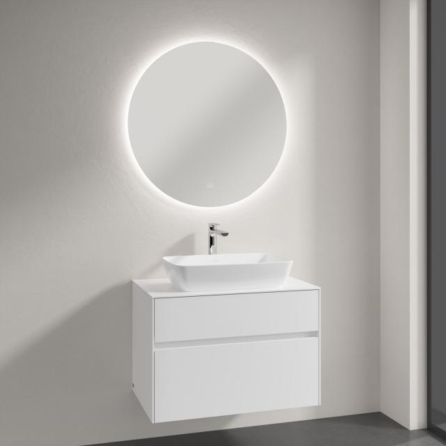 Villeroy & Boch Artis countertop washbasin with Embrace vanity unit and More to See Lite mirror front glossy white/mirrored / corpus glossy white, recessed handle matt white
