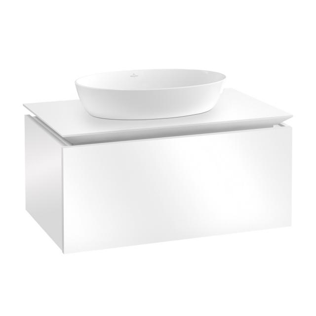 Villeroy & Boch Artis countertop washbasin with Legato vanity unit with 1 pull-out compartment front glossy white / corpus glossy white, WB white, with CeramicPlus