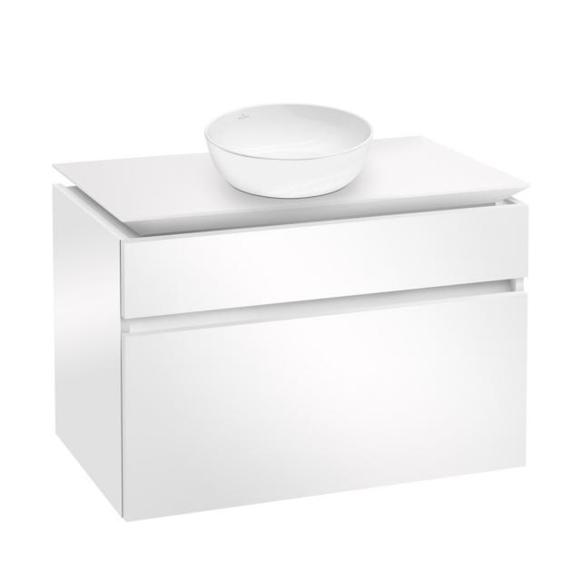 Villeroy & Boch Artis countertop washbasin with Legato vanity unit with 2 pull-out compartments front glossy white / corpus glossy white, WB white, with CeramicPlus