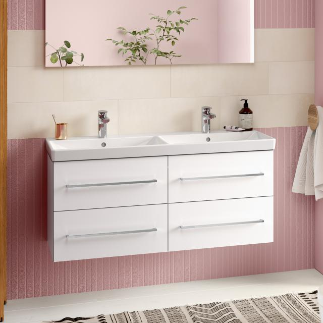 Villeroy & Boch Avento washbasin with vanity unit with 4 pull-out compartments front crystal white/corpus crystal white, WB white, with CeramicPlus