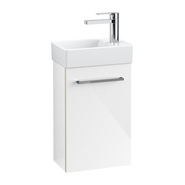Villeroy & Boch Avento hand washbasin with vanity unit with 1 door front crystal white/corpus crystal white, WB white, with CeramicPlus, basin left