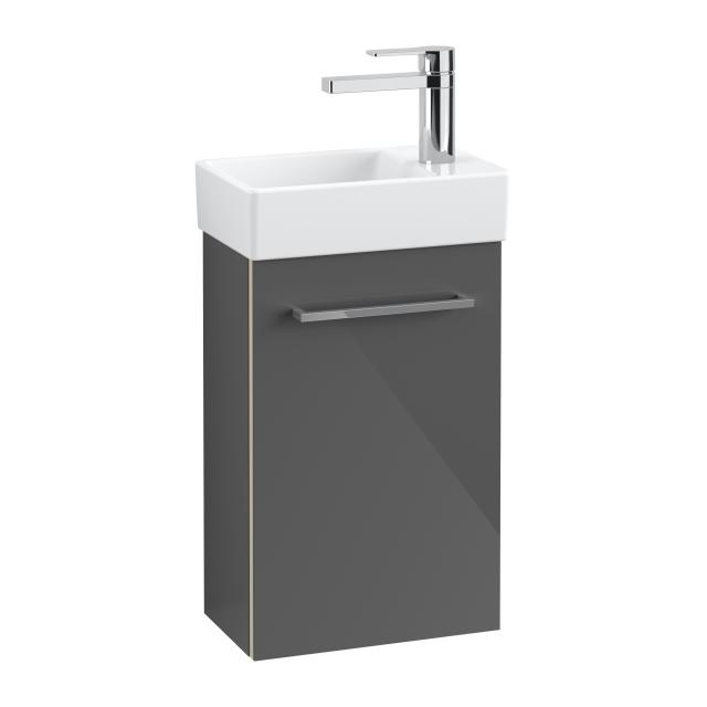 Villeroy & Boch Avento hand washbasin with vanity unit with 1 door front crystal grey/corpus crystal grey, WB white, basin left