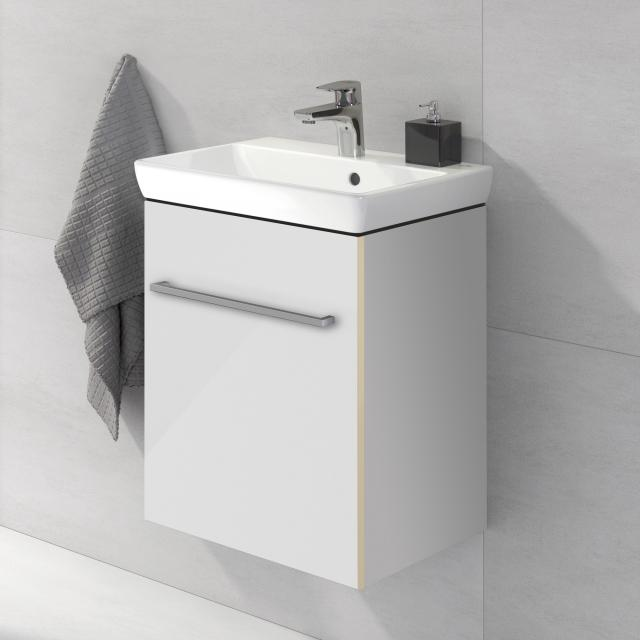 Villeroy & Boch Avento hand washbasin with vanity unit with 1 door front crystal white / corpus crystal white, WB white, with CeramicPlus