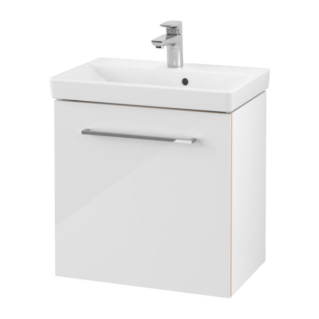 Villeroy & Boch Avento washbasin Compact with vanity unit with 1 door front crystal white / corpus crystal white, WB white, with CeramicPlus