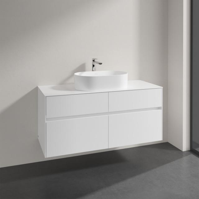 Villeroy & Boch Collaro countertop washbasin with Embrace vanity unit with 4 pull-out compartments front glossy white / corpus glossy white, recessed handle matt white