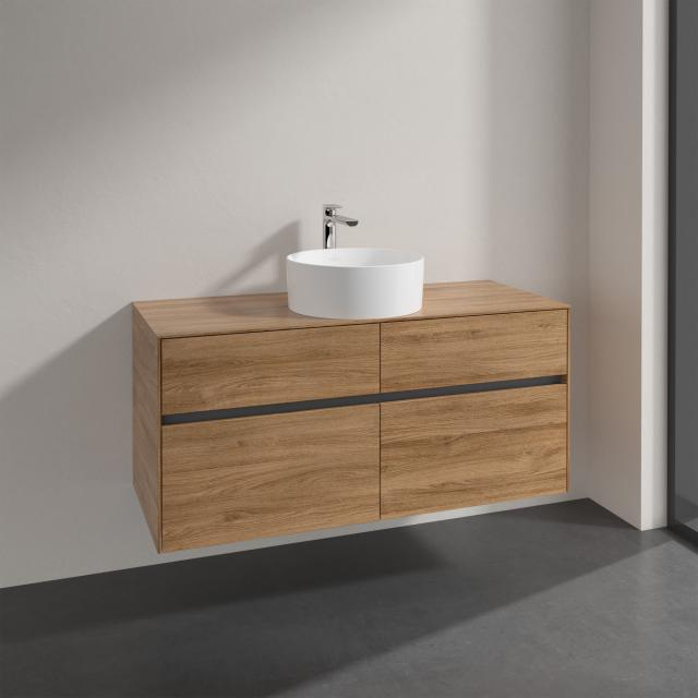 Villeroy & Boch Collaro countertop washbasin with Embrace vanity unit with 4 pull-out compartments front kansas oak / corpus kansas oak, recessed handle matt anthracite