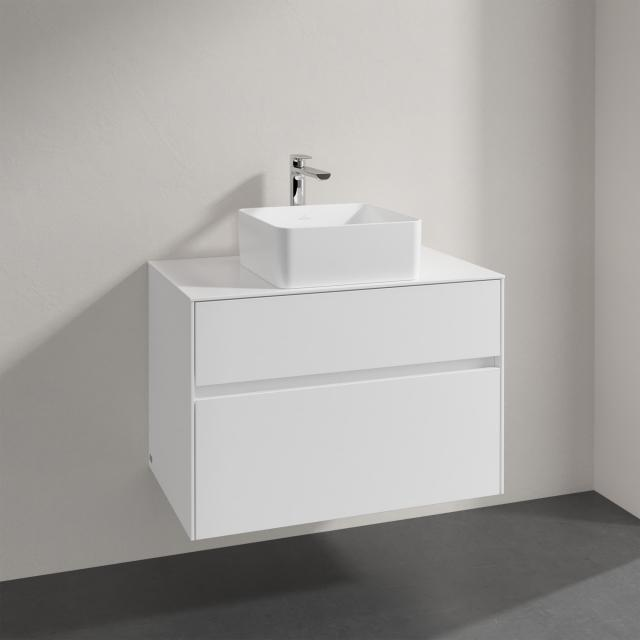 Villeroy & Boch Collaro countertop washbasin with Embrace vanity unit with 2 pull-out compartments front glossy white / corpus glossy white, recessed handle matt white