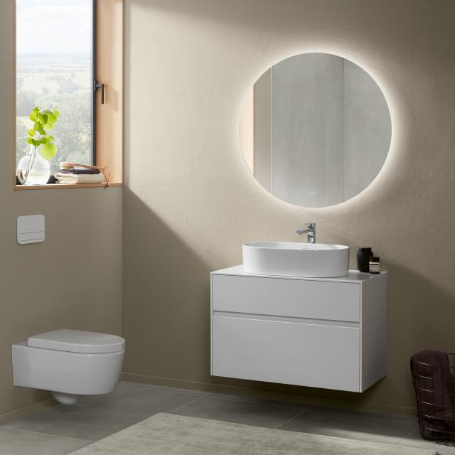 Villeroy & Boch Collaro countertop washbasin with Embrace vanity unit and More to See Lite mirror front glossy white/mirrored / corpus glossy white, recessed handle matt white