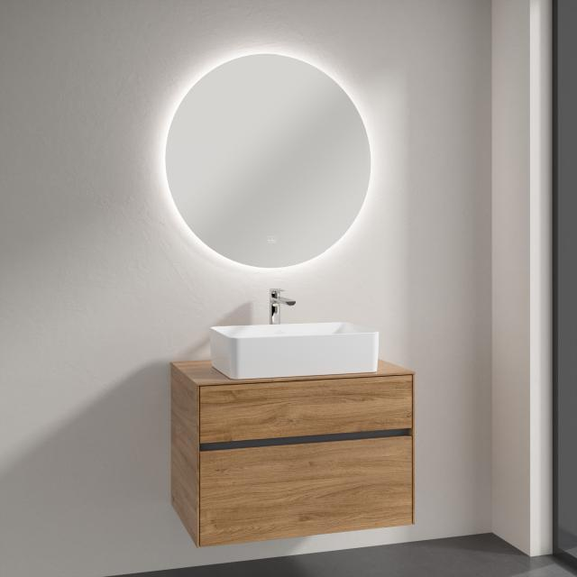 Villeroy & Boch Collaro countertop washbasin with Embrace vanity unit and More to See Lite mirror front kansas oak/mirrored / corpus kansas oak, recessed handle matt anthracite