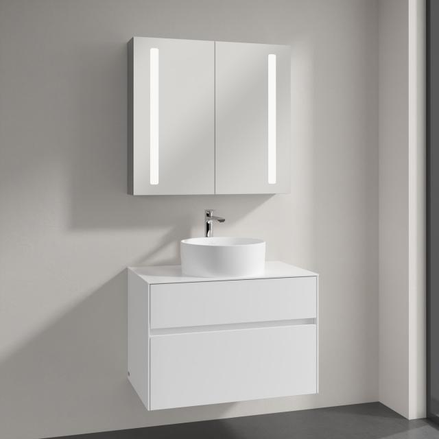 Villeroy & Boch Collaro countertop washbasin with Embrace vanity unit and My View 14 mirror cabinet front glossy white/mirrored / corpus glossy white/mirrored, recessed handle matt white