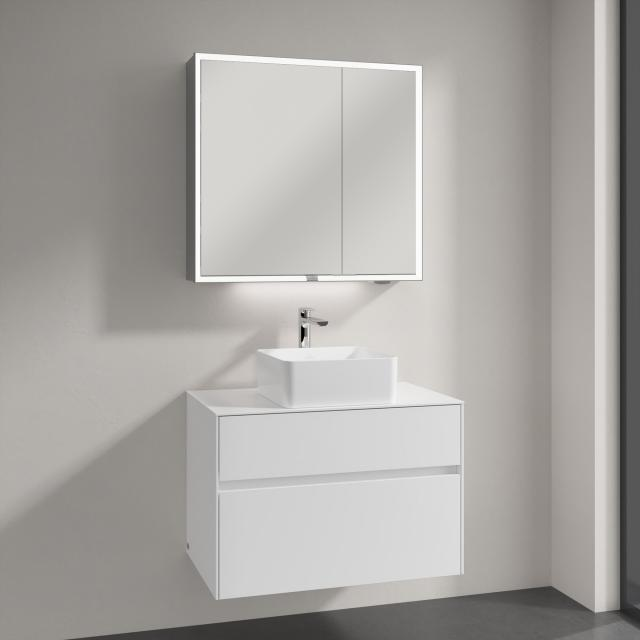 Villeroy & Boch Collaro countertop washbasin with Embrace vanity unit and My View Now mirror cabinet front glossy white/mirrored / corpus glossy white/mirrored, recessed handle matt white