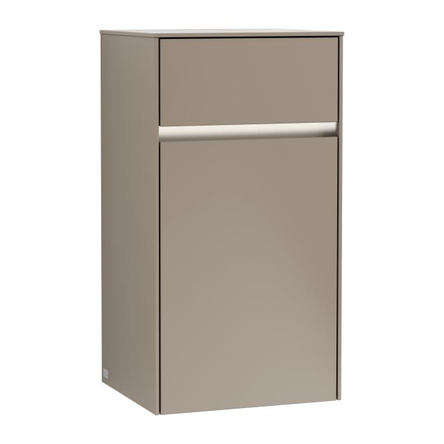 Villeroy & Boch Collaro LED side unit with 1 door with 1 pull-out compartment front truffle grey / corpus truffle grey, recessed handle truffle grey