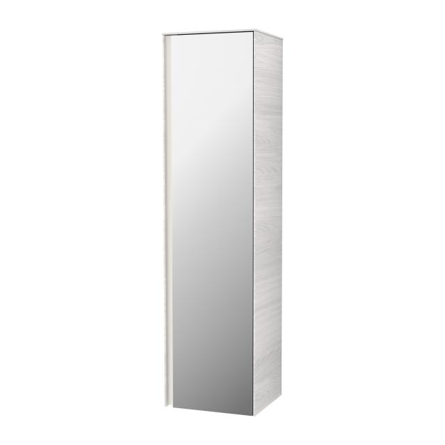Villeroy & Boch Collaro LED tall unit with 1 door front mirrored / corpus white wood, handle strip matt white