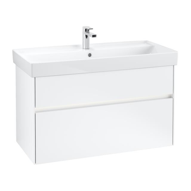 Villeroy & Boch Collaro LED vanity unit with 2 pull-out compartments front matt white / corpus matt white, recessed handle matt white