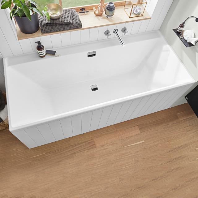 Villeroy & Boch Collaro rectangular bath, built-in white, waste/overflow set chrome