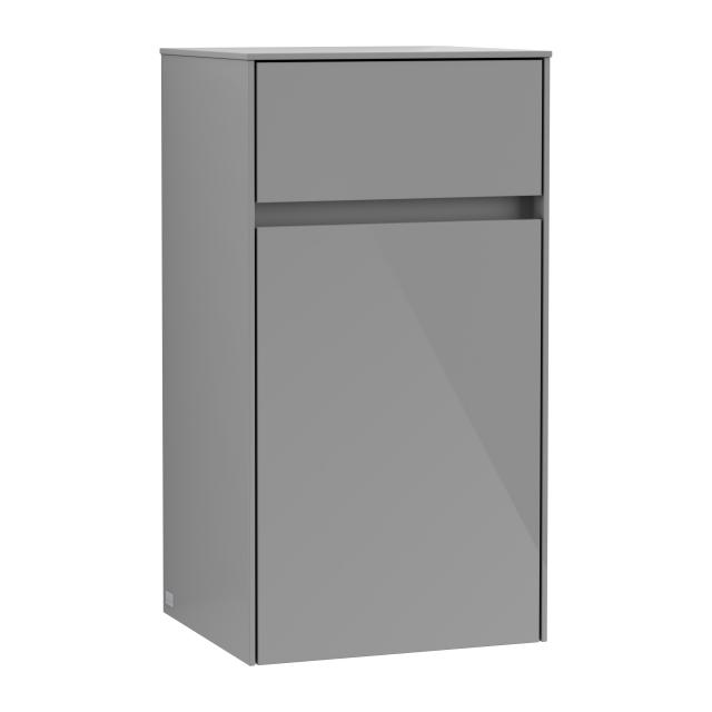 Villeroy & Boch Collaro side unit with 1 door with 1 pull-out compartment front glossy grey / corpus glossy grey, recessed handle matt anthracite