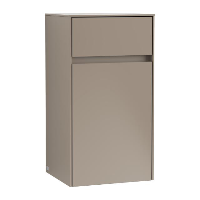 Villeroy & Boch Collaro side unit with 1 door with 1 pull-out compartment front truffle grey / corpus truffle grey, recessed handle truffle grey