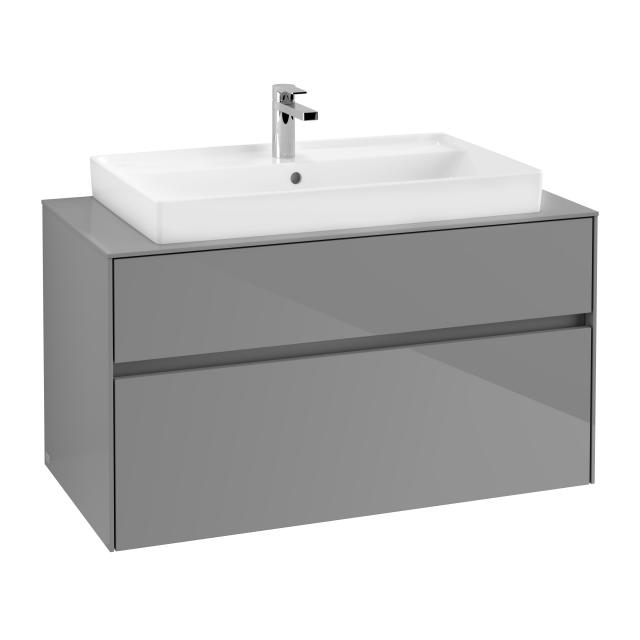 Villeroy & Boch Collaro vanity unit with 2 pull-out compartments front glossy grey / corpus glossy grey, top glossy grey, recessed handle matt anthracite